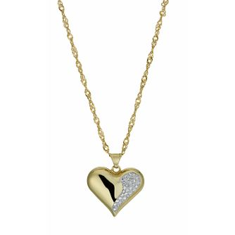 "Together Bonded Silver & 9ct Gold 18"" Crystal Heart Pendant - Product number 9757430"