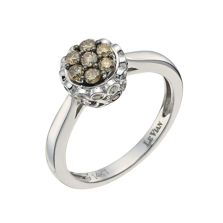 Le Vian 14ct Vanilla Gold Chocolate Diamond cluster ring - Product number 9758151
