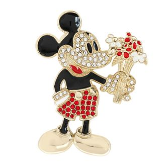 Ever After Disney Rhodium Plated Mickey Bouquet Brooch - Product number 9774165