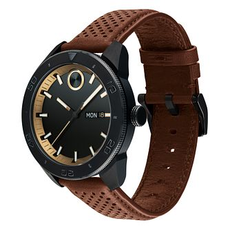 Movado Bold Men's Sport Brown Leather Strap Watch - Product number 9774289