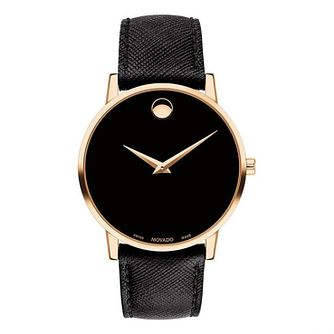 Movado Museum Men's Rose Gold Plated Black Strap Watch - Product number 9774343