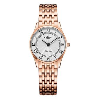 Rotary Ultra Slim Ladies' Rose Gold Plated Bracelet Watch - Product number 9774548