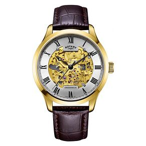 Rotary Men's Greenwich Automatic Yellow Gold Plated Watch - Product number 9774599