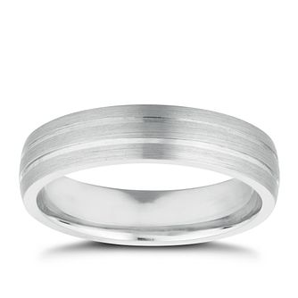 Men's Sterling Silver Matt & Polished 5mm Wedding Band - Product number 9778918