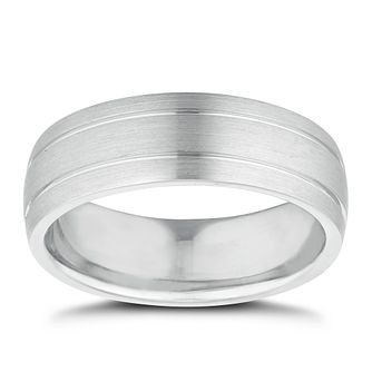 Men's Sterling Silver 7mm Matt & Polished Ring - Product number 9779671