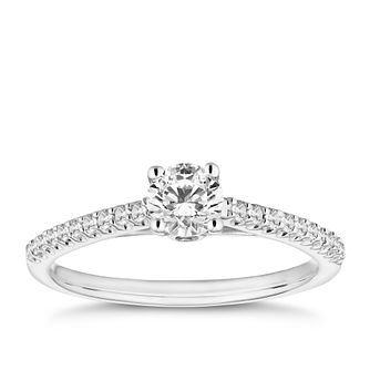 18ct White Gold 1/2ct Solitaire Diamond Ring - Product number 9780068