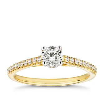 18ct Yellow Gold 1/2ct Solitaire Diamond Ring - Product number 9780181