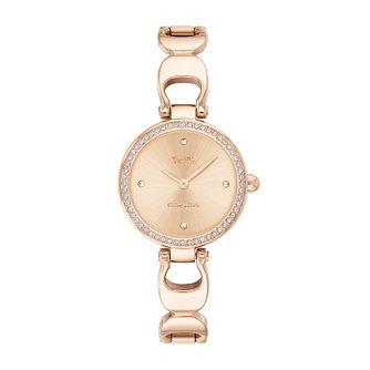 Coach Park Ladies' Rose Gold Tone Signature C Bracelet Watch - Product number 9783644