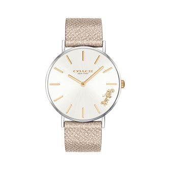Coach Perry Ladies' Metallic Gold Leather Strap Watch - Product number 9783776