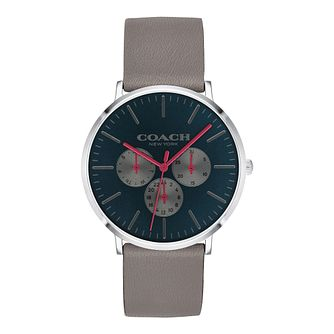 Coach Varick Men's Grey Leather Strap Watch - Product number 9783792