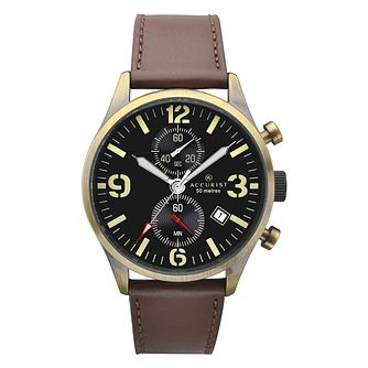 Accurist Chronograph Quartz Brown Leather Strap Watch - Product number 9784764