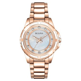 Bulova Ladies' Diamond Set Rose-Tone Steel Bracelet Watch - Product number 9784861