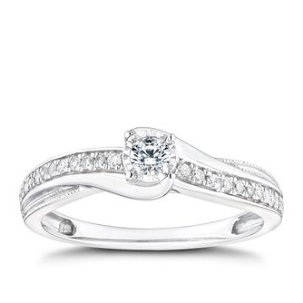 9ct White Gold 1/5ct Diamond Solitaire Twist Ring - Product number 9786791