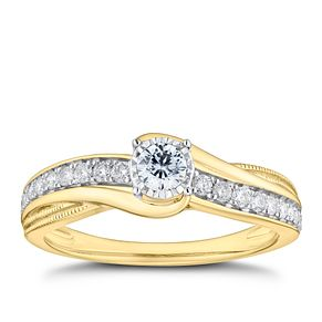 9ct Yellow Gold 1/3ct Diamond Solitaire Twist Ring - Product number 9787208
