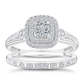 9ct White Gold 1/3ct Diamond Perfect Fit Bridal Set - Product number 9788425