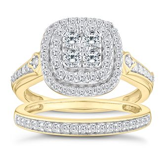 9ct Yellow Gold 4/5ct Diamond Perfect Fit Bridal Set - Product number 9788824
