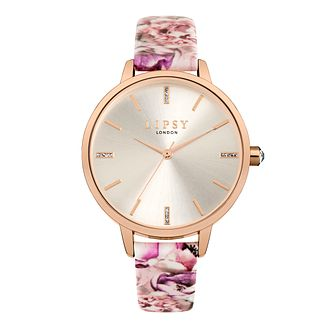 Lipsy Pink Floral Leather Strap Watch - Product number 9789693