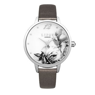Lipsy Ladies' Floral Silver Tone Grey Strap Watch - Product number 9789715
