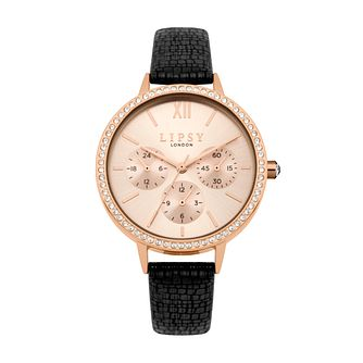 Lipsy Ladies' Rose Gold Tone Black Textured Strap Watch - Product number 9789839