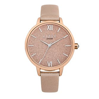 Lipsy Ladies' Rose Gold Tone Dial PU Strap Watch - Product number 9789855