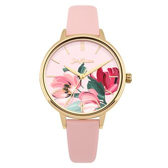 Cath Kidston Paintbox Flowers Pink Leather Strap Watch - Product number 9789898