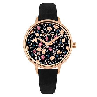 Cath Kidston Eiderdown Ditsy Ladies' Black Suede Strap Watch - Product number 9789944