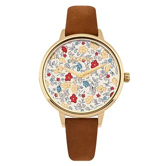 Cath Kidston Floral Cream Dial Tan Leather Strap Watch - Product number 9789952