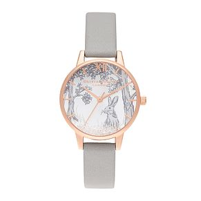 Olivia Burton Snow Globe Ladies' Bunny Grey Strap Watch - Product number 9791140