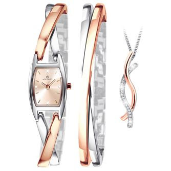 Accurist Ladies' Two-Tone Rose Bracelet Watch & Necklace Set - Product number 9792686