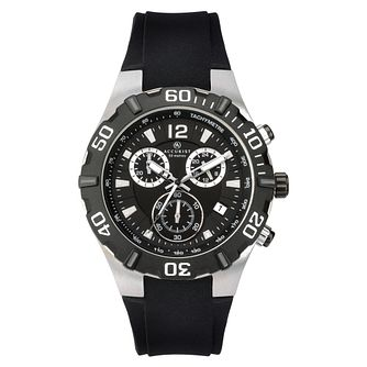 Accurist Men's Chronograph Steel Black Strap Watch - Product number 9792872