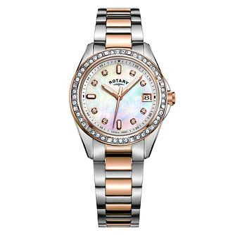 Rotary Ladies' Two-Tone Mother Of Pearl Rose Bracelet Watch - Product number 9792937