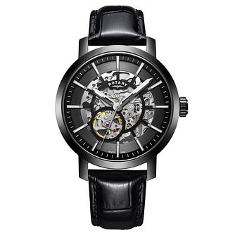 Rotary Men's Greenwich Black Leather Strap Watch - Product number 9794212