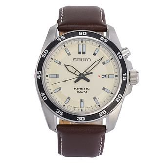Seiko Men's Kinetic Brown Leather Strap Watch - Product number 9795367