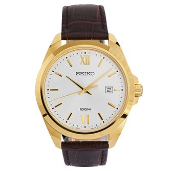 Seiko Men's Yellow Gold-Plated Brown Leather Strap Watch - Product number 9795626