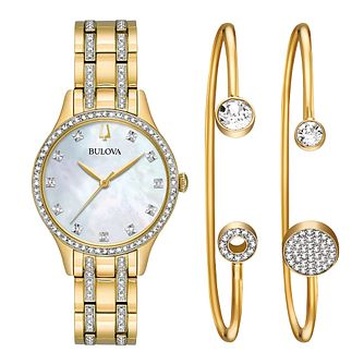 Bulova Ladies' Gold-Plated Swarovski® Watch & Bangles Set - Product number 9795715