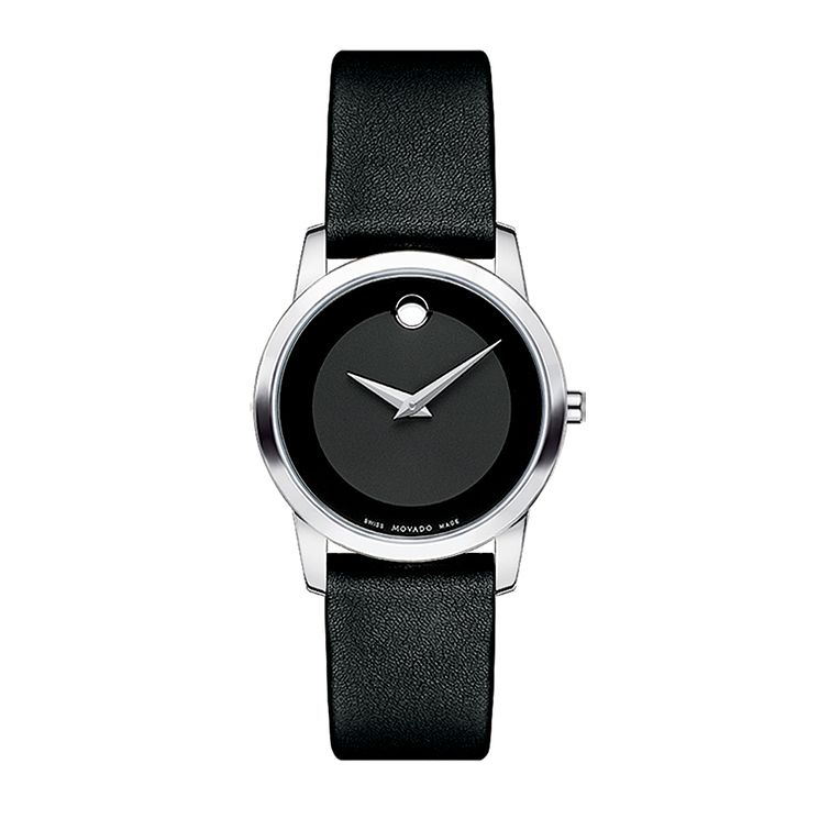 Movado Museum ladies' stainless steel black strap watch - Product number 9798137