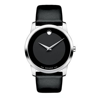 Movado Museum men's stainless steel black strap watch - Product number 9798293