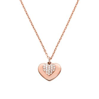 Michael Kors 14ct Rose Gold Plated Silver Kors Love Pendant - Product number 9800972