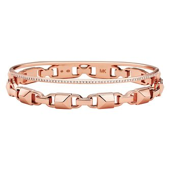 Michael Kors 14ct Rose Gold Plated Silver Mercer Link Bangle - Product number 9801006