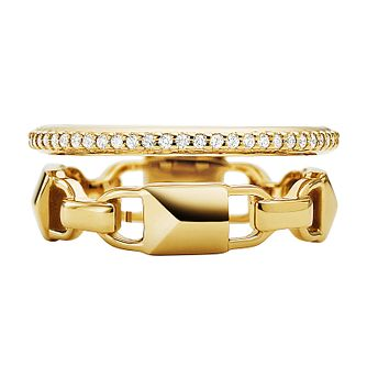 Michael Kors 14ct Yellow Gold Plated Silver Mercer Link Ring - Product number 9801316