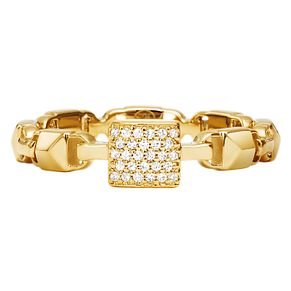 Michael Kors 14ct Gold Plated Silver Mercer Link Pave Ring - Product number 9801367