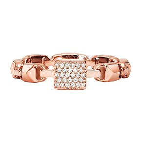 Michael Kors 14ct Rose Gold Plated Silver Mercer Link Ring - Product number 9801375
