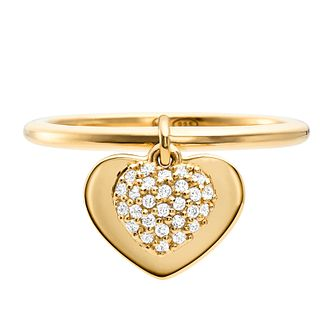 Michael Kors 14ct Yellow Gold Plated Silver Kors Love Ring - Product number 9801391