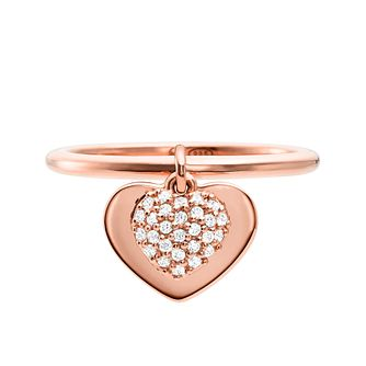 Michael Kors 14ct Rose Gold Plated Silver Kors Love Ring - Product number 9801413