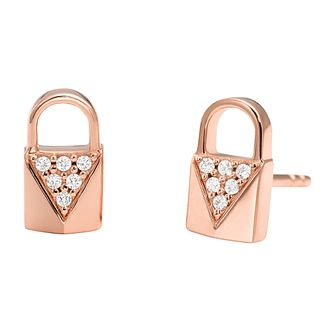 Michael Kors 14ct Rose Gold Plated Silver Pave Stud Earrings - Product number 9801464