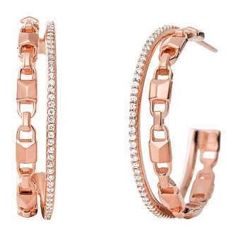 Michael Kors 14ct Rose Gold Plated Mercer Link Hoop Earrings - Product number 9801499