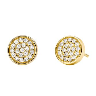 Michael Kors 14ct Gold Plated Silver Circle Stud Earrings - Product number 9801588