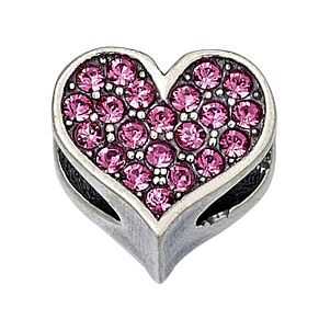 Charmed Memories Sterling Silver Pink Crystal Heart Bead - Product number 9802932