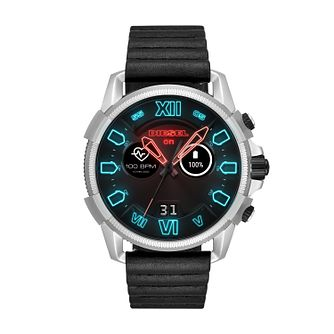 Diesel On Men's Black Leather Strap Touchscreen Smartwatch - Product number 9805060