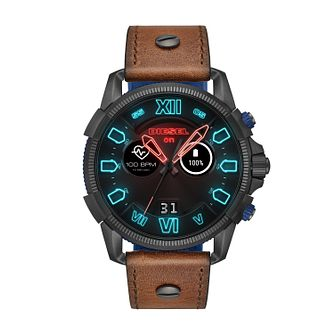 Diesel On Men's Digital Animated Brown Leather Strap Watch - Product number 9805079
